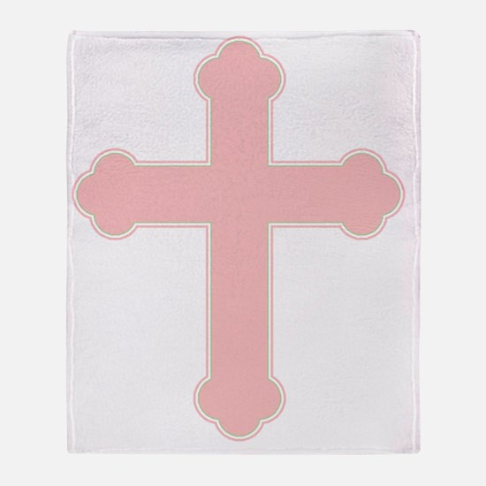 Pink Christian Cross Throw Blanket