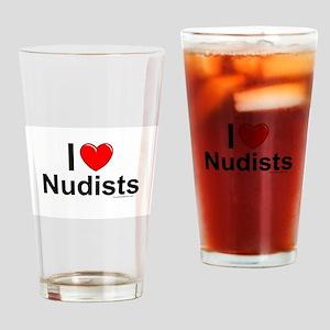 Nudists Drinking Glass