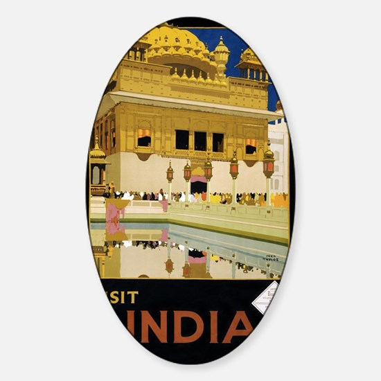 Visit India Vintage Travel Poster R Sticker (Oval)