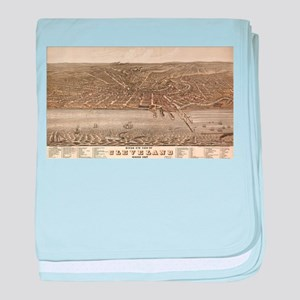 Vintage Pictorial Map of Cleveland (1 baby blanket