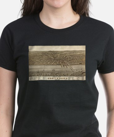 Vintage Pictorial Map of Cleveland (1877) T-Shirt