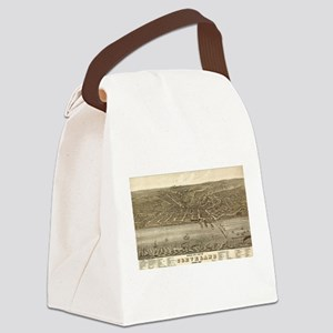 Vintage Pictorial Map of Clevelan Canvas Lunch Bag