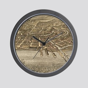 Vintage Pictorial Map of Cleveland (187 Wall Clock