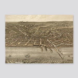 Vintage Pictorial Map of Cleveland 5'x7'Area Rug