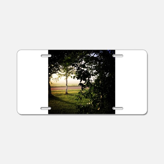 Foggy Sunrise Aluminum License Plate
