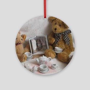 Vintage Teddy Tea Party Round Ornament