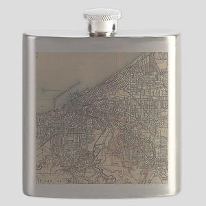 Vintage Map of Cleveland (1904) Flask