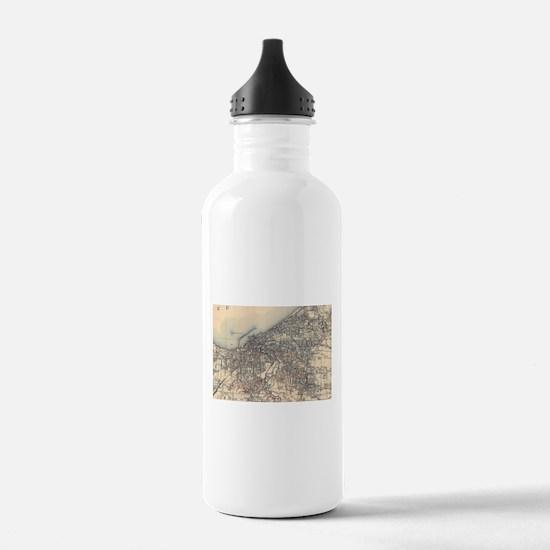 Vintage Map of Clevela Water Bottle