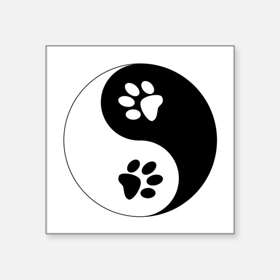"Yin Yang Paws Square Sticker 3"" x 3"""