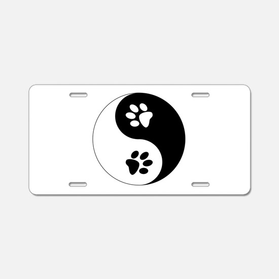 Yin Yang Paws Aluminum License Plate