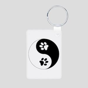 Yin Yang Paws Aluminum Photo Keychain
