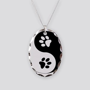 Yin Yang Paws Necklace Oval Charm