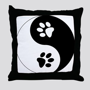 Yin Yang Paws Throw Pillow