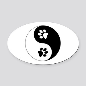 Yin Yang Paws Oval Car Magnet