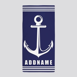 Navy Blue Anchor with Stripes Personal Beach Towel