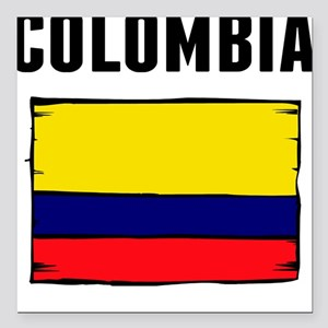"Colombia Flag Square Car Magnet 3"" x 3"""