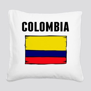 Colombia Flag Square Canvas Pillow