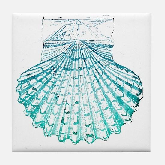 modern sea shells nautical  Tile Coaster