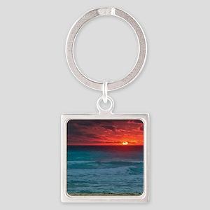 Sunset Beach Square Keychain