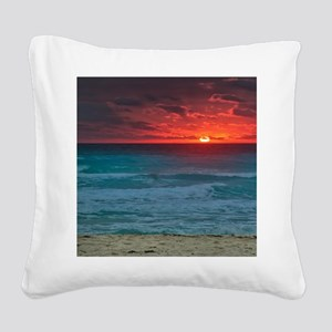 Sunset Beach Square Canvas Pillow