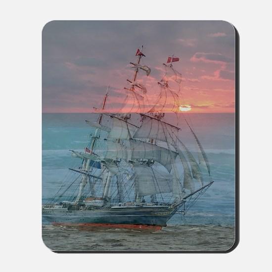 Sunset Ship Mousepad