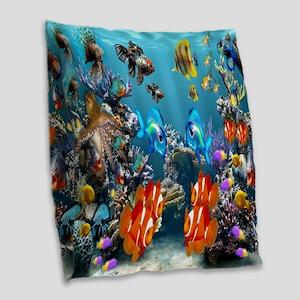 Under the Sea Burlap Throw Pillow