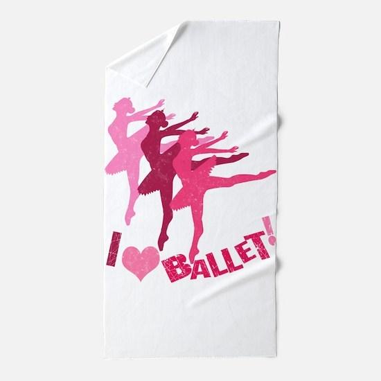 I Love Ballet Beach Towel
