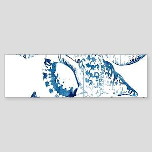 navy blue sea shells nautical Bumper Sticker