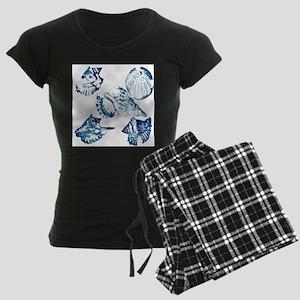navy blue sea shells nautica Women's Dark Pajamas