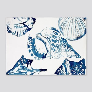 modern sea shells nautical 5'x7'Area Rug