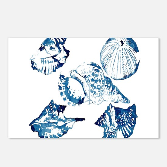 modern sea shells nautica Postcards (Package of 8)