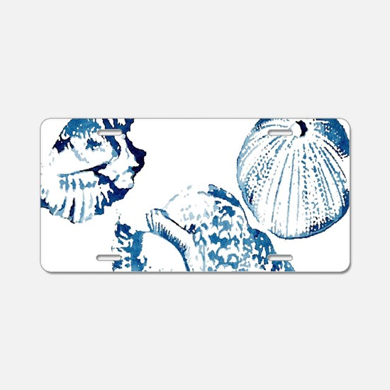 modern sea shells nautical Aluminum License Plate