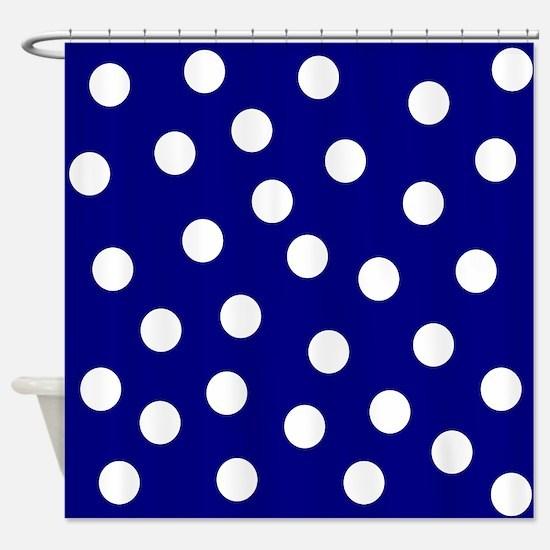 White Polka Dots Blue Shower Curtain