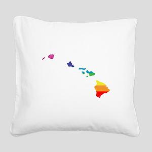 hawaii rainbow Square Canvas Pillow