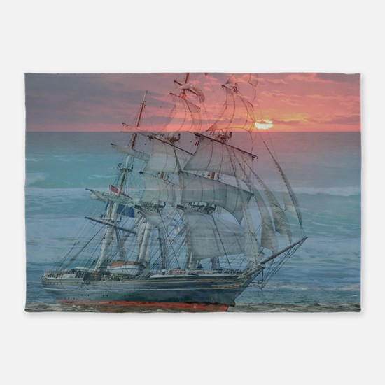 Sunset Ship 5'x7'Area Rug