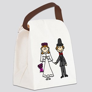 Bride and Groom Stick Figures Canvas Lunch Bag