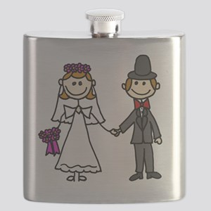 Bride and Groom Stick Figures Flask