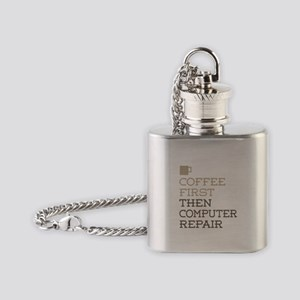 Coffee Then Computer Repair Flask Necklace