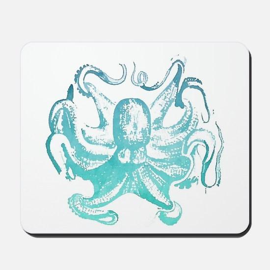 nautical ocean vintage octopus Mousepad