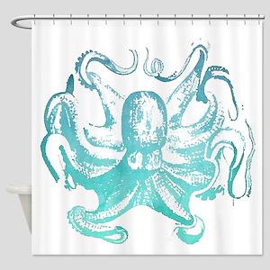 nautical ocean vintage octopus Shower Curtain