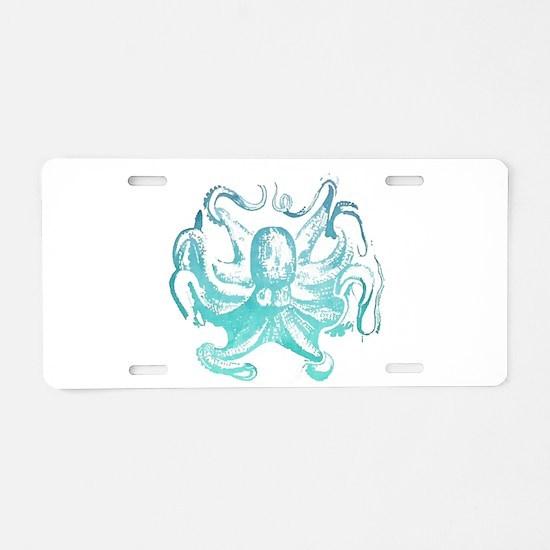 nautical ocean vintage octo Aluminum License Plate
