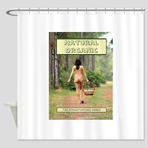 Natural Organic Nude Brunette Shower Curtain