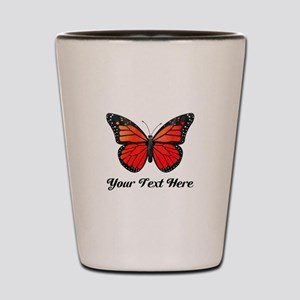 Red Butterfly Custom Text Shot Glass