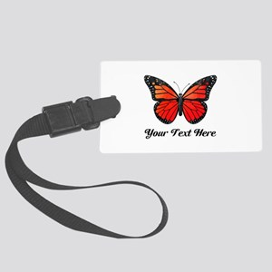 Red Butterfly Custom Text Luggage Tag