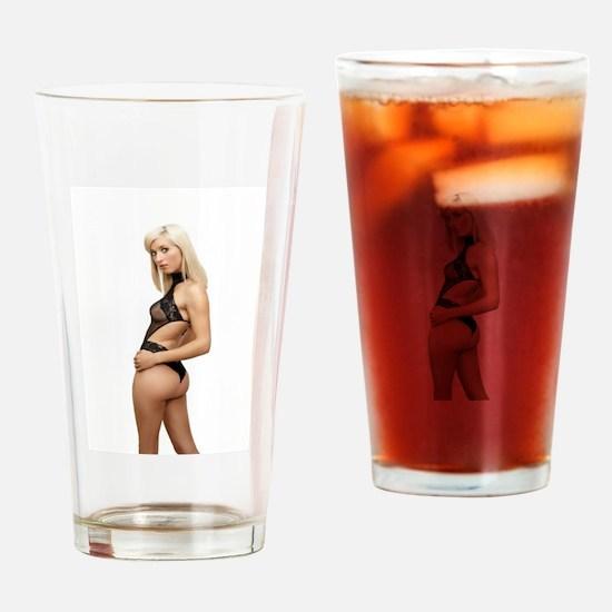 Sexy Blonde Wearing Sheer Black Lin Drinking Glass
