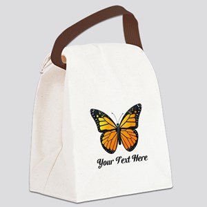 Orange Butterfly Custom Text Canvas Lunch Bag