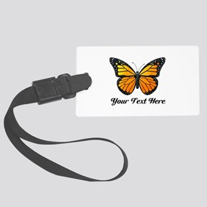 Orange Butterfly Custom Text Large Luggage Tag
