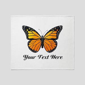 Orange Butterfly Custom Text Throw Blanket