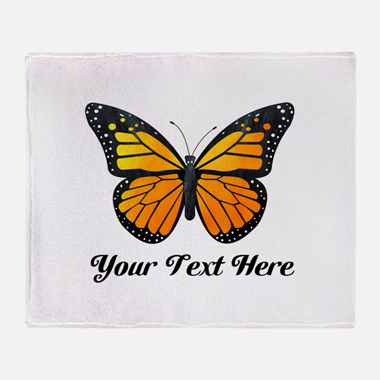 Orange Butterfly Custom Text Throw Blanket