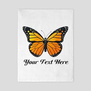 Orange Butterfly Custom Text Twin Duvet